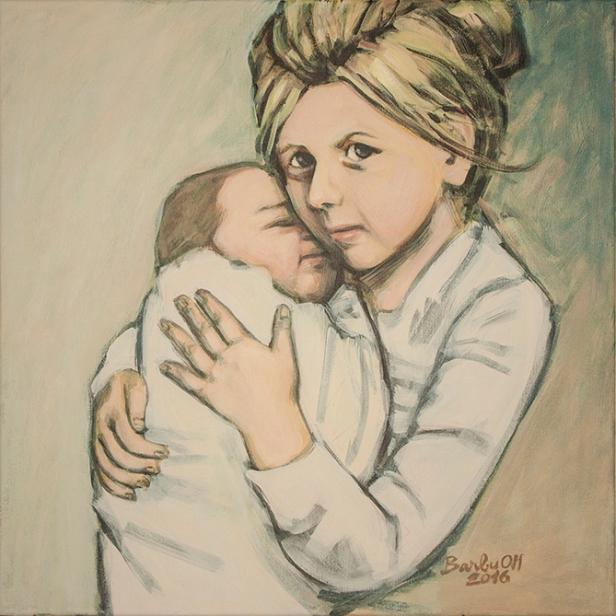 Sisters | 50 x 50 cm | acrylic on canvas | 2016 by Olimpia Hinamatsuri Barbu