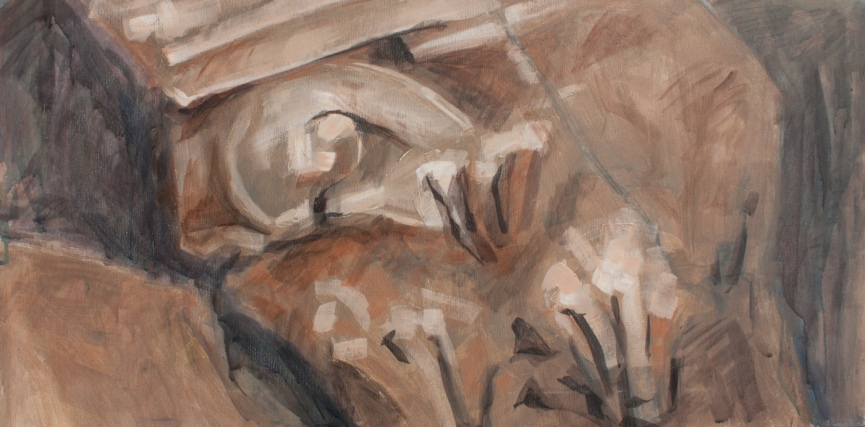 Fragment II (Sarmizegetusa 2011) | 50 x 80 cm | acrylic on canvas | 2011 by Olimpia Hinamatsuri Barbu