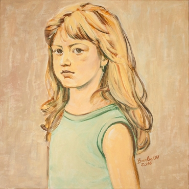 The girl with the golden hair | 50 x 50 cm | acrylic on canvas | 2016 by Olimpia Hinamatsuri Barbu