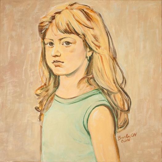 The girl with the golden hair   50 x 50 cm   acrylic on canvas   2016 by Olimpia Hinamatsuri Barbu