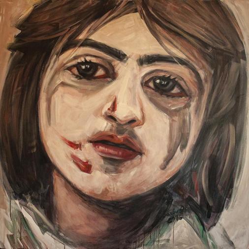 Aleppo today   120 x 120 cm   acrylic on canvas   2016 by Olimpia Hinamatsuri Barbu