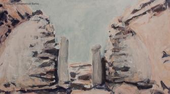 Ruins II (Sarmizegetusa 2011)   50 x 90 cm   acrylic on canvas   2011 by Olimpia Hinamatsuri Barbu