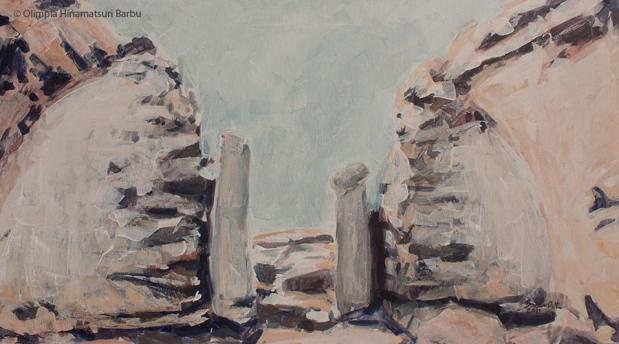 Ruins II (Sarmizegetusa 2011) | 50 x 90 cm | acrylic on canvas | 2011 by Olimpia Hinamatsuri Barbu